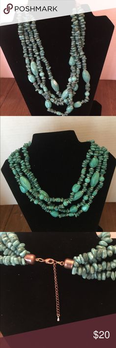 Beaded Necklace Turquoise with copper & silver color necklace. 4 strands of beads. Jewelry Necklaces
