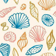 New illustration art nature sea shells Ideas Sea Illustration, Pattern Illustration, Textile Patterns, Print Patterns, Seaside Wallpaper, Shell Drawing, Kids Prints, Surface Pattern Design, Digital Pattern