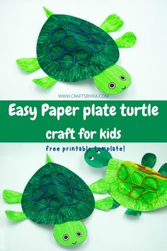 Here is an adorable paper plate turtle craft to have fun with your kids this summer. We are sure you will find all the supplies right at your home to make this cute sea animal. This paper plate turtle is perfect to do with kids of all ages, especially preschoolers, kindergarteners, and elementary school kids. #craftsbyria