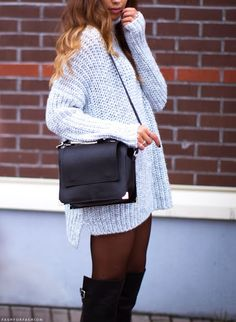 oversized sweater + boots