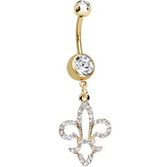 Clear Gem Gold Plated Hollow Fleur De Lis Dangle Belly Ring | Body Candy Body Jewelry #bodycandy #piercings #bellyring