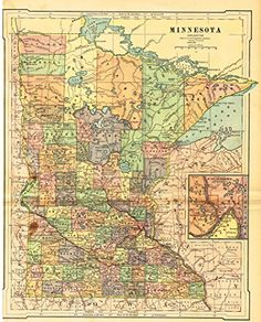 "Barnes's Geography - ""MINNESOTA"" Map by Monteith -1875"