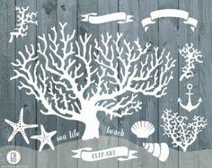 Coral beach sea life vector clip art, corals, starfish, nautical, anchor, summer weddings, beach wedding, coral reef invitation