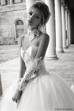 alessandro carrabs couture bridal 2016 illusion long sleeves sweetheart collar ball gown wedding dress (020) zv romantic