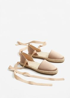 Lace-up satin espadrilles -  Woman | MANGO United Kingdom