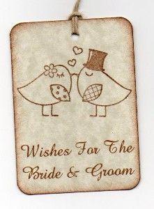 Wedding Wish Tags Love Birds Kissing Vintage