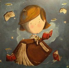 Flying with books / Volando con los libros (ilustración de Marta Mayo)