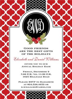Preppy Holiday Red Invitations