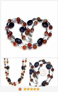 Double Strand Semiprecious Iolite Carnelian Necklace, Violet Burnt Orange, Natural Gemstone Jewelry, Wabi Sabi Handmade Unique, ALFAdesigns https://www.etsy.com/listing/229583078/