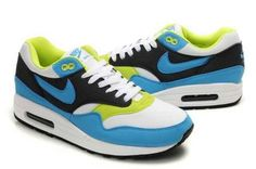 newest 8ba03 74ecf 2014 Vente Nike Air Max 1 Bleu Blanche Vert Noir Chaussures Homme Sortie  Pas Cher