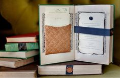Vintage books as a center piece and the menu to the meal. Brilliant!
