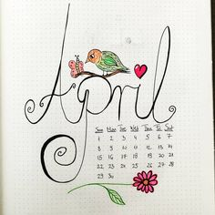 Bullet journal monthly cover page, April cover page, plant doodle, flower doodle. | @aloneinuniverseart