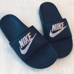 0c3e4ff37b08 NIKE Slides Bedazzled Rose Gold and Black Sparkly Shoes with PINK AB  CRYSTALS Great for Christmas