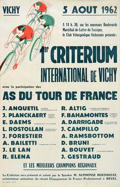 Affiche du 1er Criterium International de Vichy avec les As du Tour de France 1962 dont Anquetil,