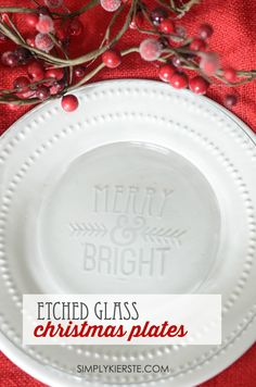 It takes just minutes to make these darling Etched Glass Christmas Plates, and they're perfect for gifts!