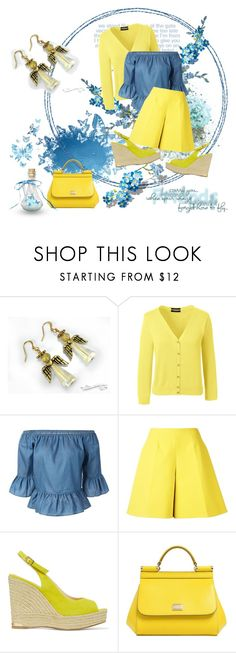 """""""Shorts in Yellow - Jewelry by Ooh-la-la Beadtique"""" by ooh-la-la-beadtique ❤ liked on Polyvore featuring Lands' End, Delpozo, Paloma Barceló and Dolce&Gabbana"""