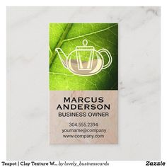 Teapot | Clay Texture Wall Green Leaf Business Card
