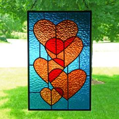 Hearts Stained Glass Panel by colorandlight on Etsy, $99.00