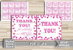 Printable Pink Dots Thank You Tag - Thank You Tag Pink Dots Glitter - Thank You Tag - Favor Thank You Tag Pink Polka Dots - Instant Download by DigitalitemsShop on Etsy