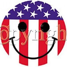 Smiley Face Patriotic Flag HEAT PRESS TRANSFER for T Shirt Sweatshirt Tote #710a #AB