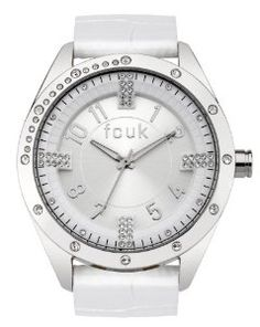 FCUK Women's FC1084SS Over-Sized Round White Watch,$112.99