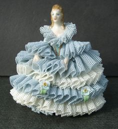 "VINTAGE DRESDEN PORCELAIN FIGURINE IRISH ""ANNA"" BLUE and WHITE LACE DRESS - MINT"