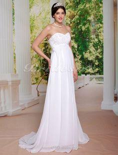 Sheath/ Column Chiffon Court Train Sweetheart Wedding Dress - $139.99