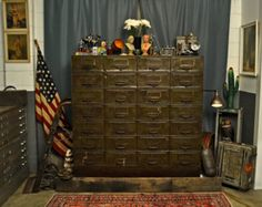 Vintage File Cabinet from WWII era; 28 Drawer Industrial Cabinet; Holds 26 cubic feet, each drawer just shy of 1 cubic foot