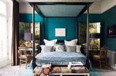 , Amazing Blue Color With Texture In Wall Bedroom With Canopy Bed Rustic Style: interesting home color trends 2014