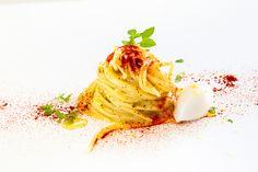 Paolo Barrale   Spaghetti aglio, olio e peperoncino con gelato al Parmigiano e zenzero   foto Diego Marinelli