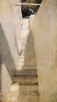 off Hand made oil painting reproduction of Staircase In Capri, one of the most famous paintings by John Singer Sargent. John Singer Sargent concluded a series of paintings during his 1878 trip to Capri, including Staircase In Capri. John Singer Sargent, Sargent Art, Landscape Art, Landscape Paintings, Oil Paintings, Painting Art, Beaux Arts Paris, Oil Painting Reproductions, American Artists