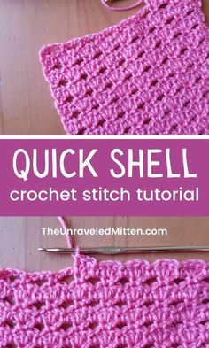 The Quick Shell Stitch pattern creates a lacy eyelet fabric by working alternating rows of 3 double crochets shells and chain stitches. Different Crochet Stitches, Crochet Stitches For Blankets, Crochet Baby Blanket Free Pattern, Crochet Stitches For Beginners, Easy Crochet Blanket, Baby Afghan Crochet, Crochet Stitches Patterns, Crochet Dishcloths, Crochet Shell Pattern