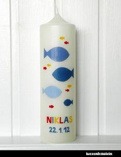 Taufkerze Fischschwarm - 25x7 cm - kerzenfräulein