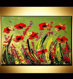 """This is style of painting that I do. I call it my style """"Jazzy Paintings"""". Each stroke of the brush has its own unique texture and shape just like a fingerprint. Most of my art is made by Palette-Knife. Red Poppies, My Arts, Palette, Shapes, Oil, Texture, The Originals, Abstract, Modern"""