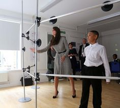 Catherine, Duchess of Cambridge is shown coordination games by Kaionel, who took her around his class during a visit to the Anna Freud Centre on September 2015 in London, England. The visit was. Get premium, high resolution news photos at Getty Images Duchess Kate, Duke And Duchess, Duchess Of Cambridge, Princess Kate, Princess Charlotte, Royal Diary, Kate Middleton Photos, William Kate, Prince William