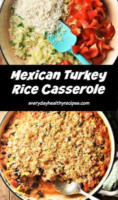 This Mexican inspired turkey rice casserole turns holiday leftovers into a delicious, easy to make one-pot meal everyone will love. It's spicy, flavourful, nutritious and comes together in under 30 minutes! #leftoverturkey #turkeyleftovers #turkeycasserole #healthycasserole #christmasleftovers #everydayhealthyrecipes