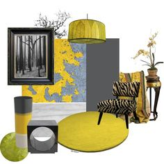 Interior Design - Idea Set - Yellow & Gray, created by art2art on Polyvore