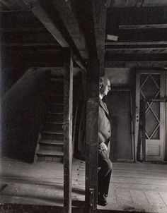 Otto Frank, Anne Frank's father and only surviving family member, revisiting the attic, May 3rd, 1960