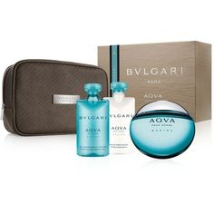 Bvlgari Aqva Pour Homme Marine Gift Set (130 NZD) ❤ liked on Polyvore featuring men's fashion, men's grooming, men's gift sets & kits, no color and bulgari
