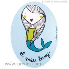 """Laroom - Cartel puerta baño Sirena """"el meu bany"""" azul - adhesivo 3M - Laroom dissenya i fabrica productes per a la llar i la vida - www.laroom.com"""