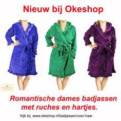 Nieuw bij Okeshop: Romantische badjassen met ruches en hartjes. Kijk bij www.okeshop.nl/badjassen/voor-haar #badjas #badjassen #kamerjas #ochtendjas #nachtkleding