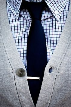 classically understated style - keep it simple and clean with a cardigan, tie and button-down shirt ... tie-clip for extra flair // menswear style + fashion