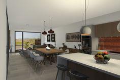 Vista 3D interior de la villa tipo de 1 planta. #3d #architecture3d #artlantis #Archicad #model3d #design3d #render #rendering #3dmodel #3ddesign #renderings #Photoshop
