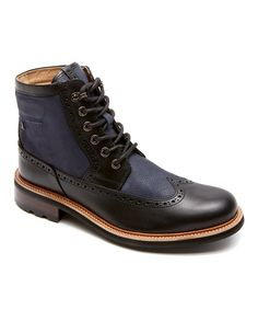 Look at this Rockport Peacoat & Black Break Trail Too Leather Wing Boot on #zulily today!