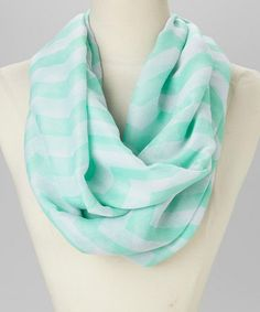 This trend-right infinity scarf is just the thing to spruce up any ho-hum outfit. Mint & White Zigzag Infinity Scarf by Jasmine Trading Corp #zulily