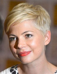 Short hair: Michelle Williams has a slender, heart-shaped face, which makes her sideswept pixie look especially distinguished and fresh.