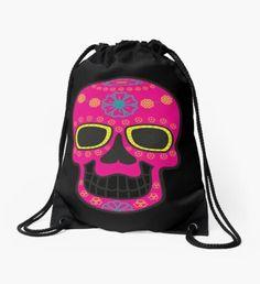 'Skull' Drawstring Bag by Backpack Bags, Drawstring Backpack, Sell Your Art, Woven Fabric, Skull, Backpacks, Shoulder, Classic