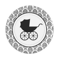 Antique Baby Carriage Elegant Damask   Baby Shower 7 Inch Paper Plate