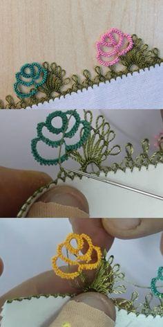 Gül Dalında Güzel İğne Oyası - Melt Tutorial and Ideas Knitting Socks, Baby Knitting, Crochet Lace, Crochet Pattern, Diy Shops, Needle Lace, Lace Making, Flower Patterns, Needlepoint