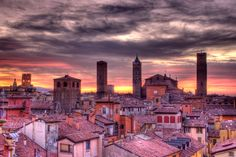 Sunset in Bologna, Italy.